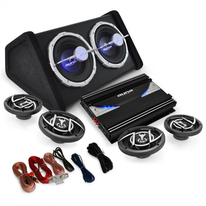 "4.1 Car Hifi Set ""Black Line 520"" Verstärker Boxen Sub"