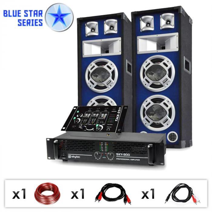"""DJ PA Set Blue Star Series """"Beatmix"""" 1200 Watt"""