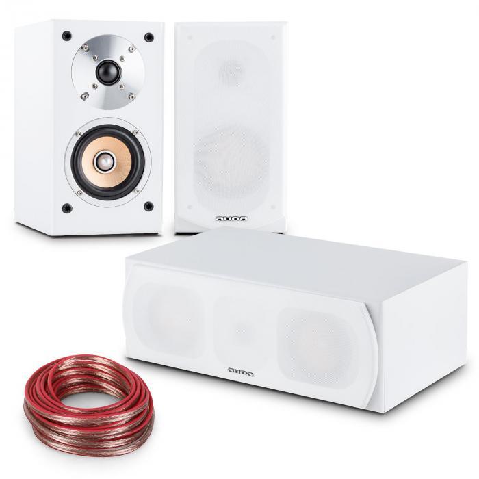 Linie-501 Lautsprecher-Set 2x Regallautsprecher Center 10m Kabel weiß