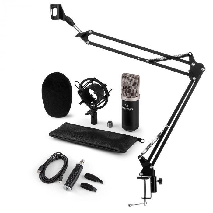 CM003 Mikrofon-Set V3 Kondensatormikrofon USB-Konverter Mikrofonarm schwarz