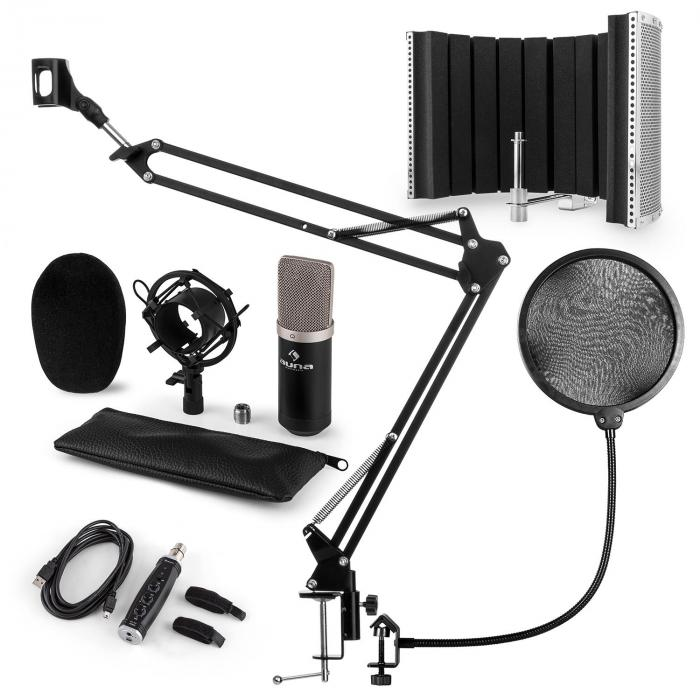 CM003 Mikrofon-Set V5 Kondensatormikrofon USB-Konverter schwarz