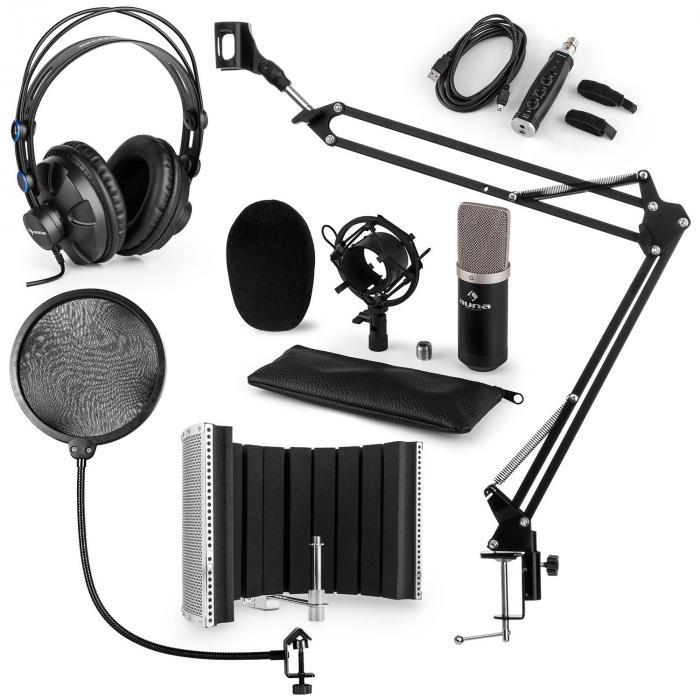 CM003 Mikrofon-Set V5 Kondensatormikrofon USB-Konverter Kopfhörer schwarz