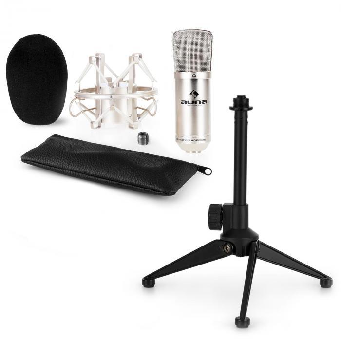 CM001S Mikrofon-Set V1 - silbernes Studio-Mikrofon mit Spinne & Tischstände