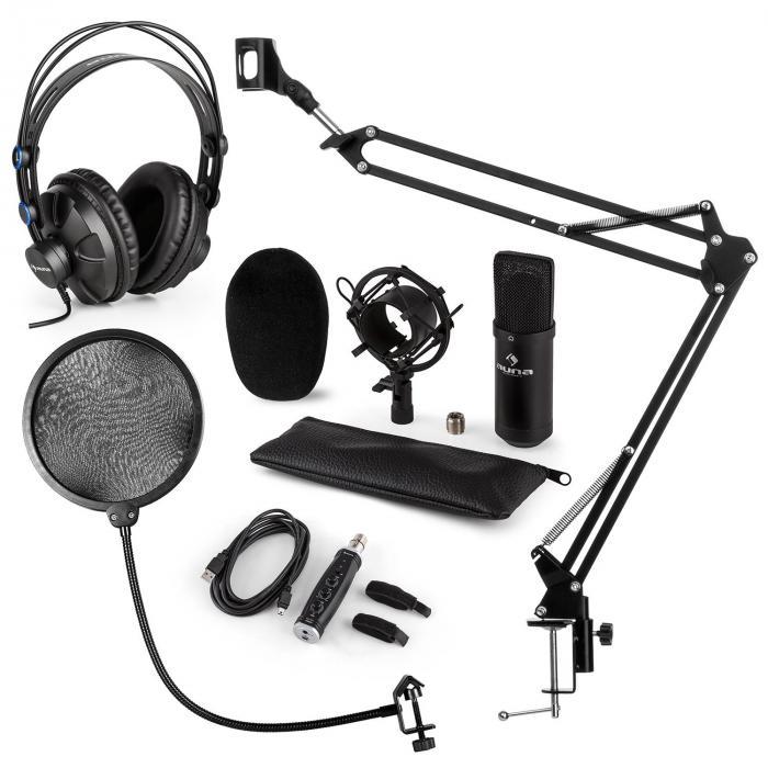 CM001B Mikrofon-Set V4 Kopfhörer Kondensator USB-Adapter Arm POP-Schutz