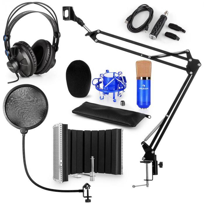 CM001BG Mikrofon-Set V5 Kopfhörer USB-Konverter Arm POP-Schutz Schirm blau
