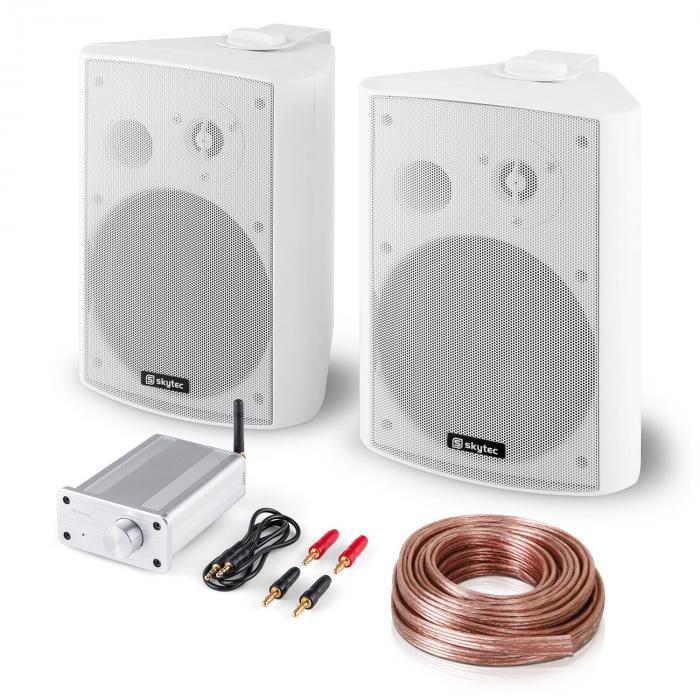 PA HiFi Set Bluetooth Play WH Lautsprecher-Paar Mini-Bluetooth-Verstärker Kabel