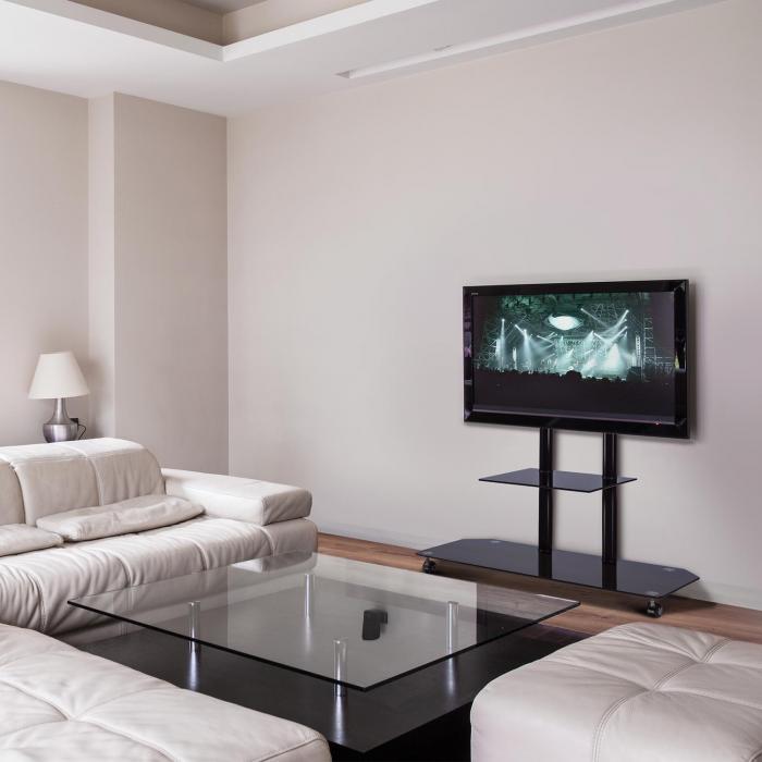 FAVS17 TV Halterung Ständer Glas Aluminium Rollen schwarz