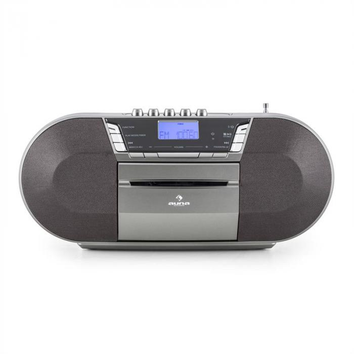 Jetpack portable Boombox USB CD MP3 UKW Batteriebetrieb grau