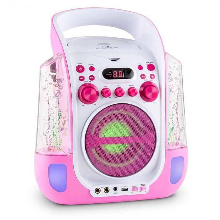 Kara Liquida Karaokeanlage CD USB MP3 Wasserstrahl LED 2x Mikrofon mobil