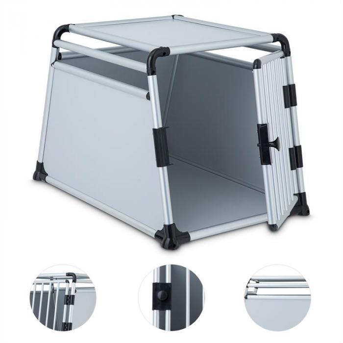 Single Cruise Hundetransportbox 91x64x64cm Resopal Aluminium