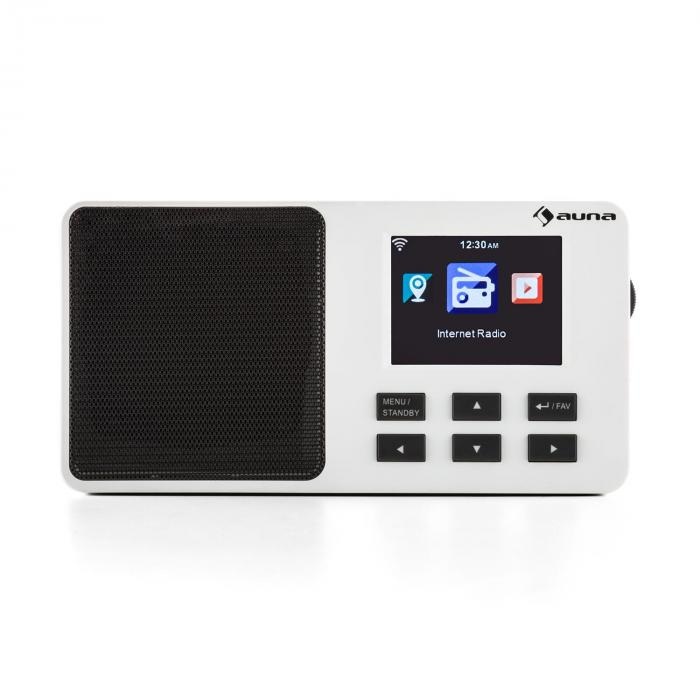 "IR-110 Internetradio 2,4"" TFT-Farbdisplay Akku W-LAN USB weiß"