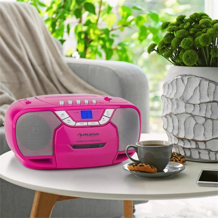 BeeGirl Boom Box Ghettoblaster Radio CD/MP3-Player Kassettenplayer pink