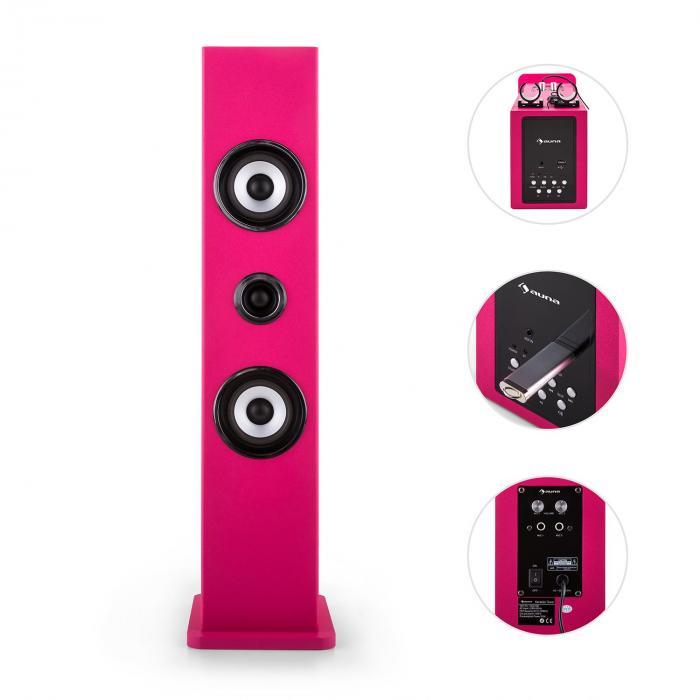 Karaboom Bluetooth-Lautsprecher USB AUX Karaoke 2 x Mikrofon pink