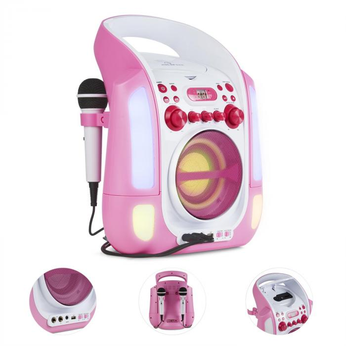 Kara Illumina Karaokeanlage CD USB MP3 LED-Lichtshow 2x Mikrofon mobil pink