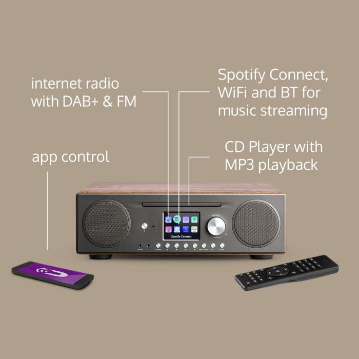 Connect CD Internetradio Mediaplayer Spotify Connect BT App Control walnuss