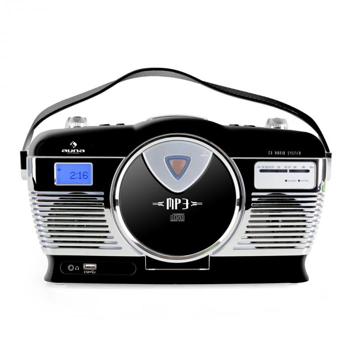 RCD-70 Retroradio UKW USB CD Batterie schwarz