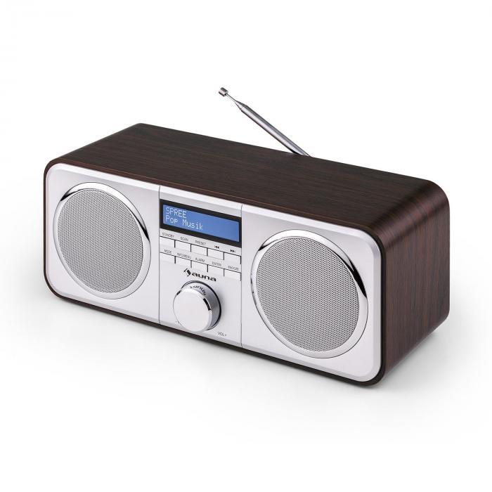 Georgia DAB-Radio DAB+ UKW Senderspeicher Wecker AUX dunkelbraun