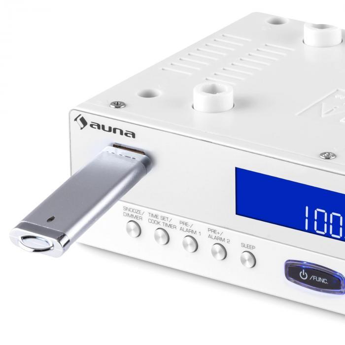 KR-100 WH Küchen-Radio Unterbau Bluetooth USB MP3 Freisprechfunktion