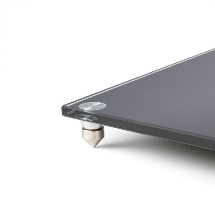 BS-03S-BK Lautsprecher-Ständer Paar Aluminium Glas MDF Kabelkanal Spikes
