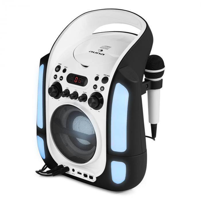 Kara Illumina Karaokeanlage CD USB MP3 LED-Lichtshow 2xMikro mobil schwarz
