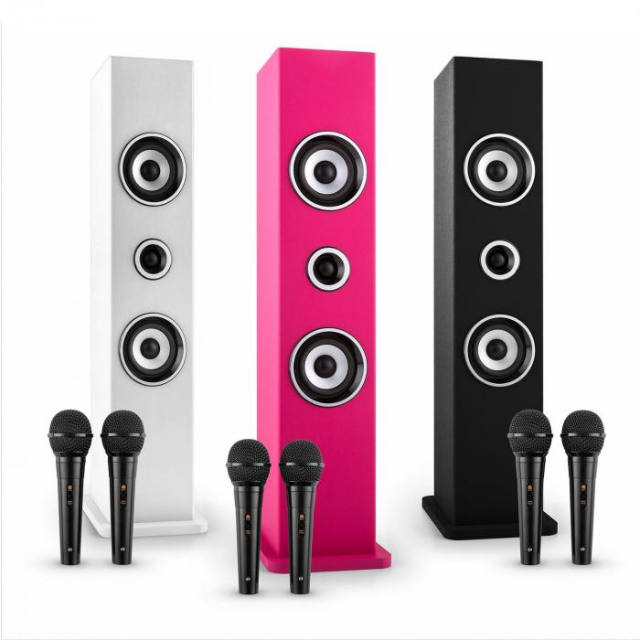Karaboom Bluetooth-Lautsprecher USB AUX Karaoke 2 x Mikrofon weiß