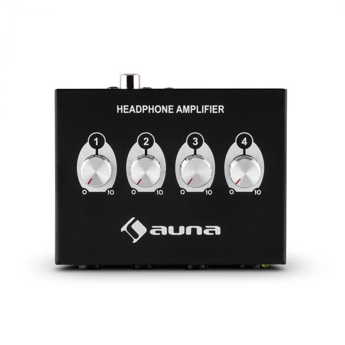 HA-4CH 4-Kanal Kopfhörer-Verstärker Cinch 6,3mm-Klinke Metallgehäuse