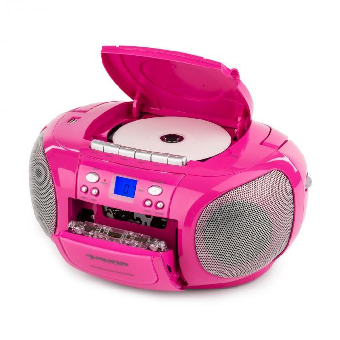 BoomGirl Boom Box Ghettoblaster Radio CD/MP3-Player Kassettenplayer pink